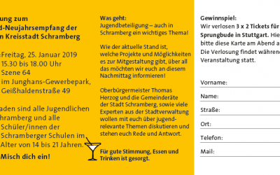 Einladung zum Jugend-Neujahsrempfang der Großen Kreisstadt Schramberg
